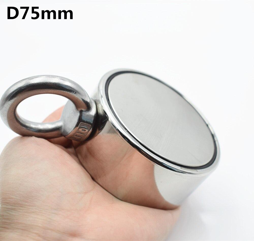 D75mm imán de neodimio súper poderoso agujero de doble cara salvar pesca imán 300 kg anillo Circular gancho permanente soporte de acero