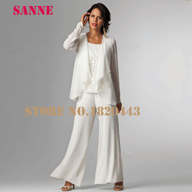 Elegant Three Pieces Mother Of The Bride Jacket Dresses Lace Floor Length  White Pant Suits Mother Groom a51223a69fc6