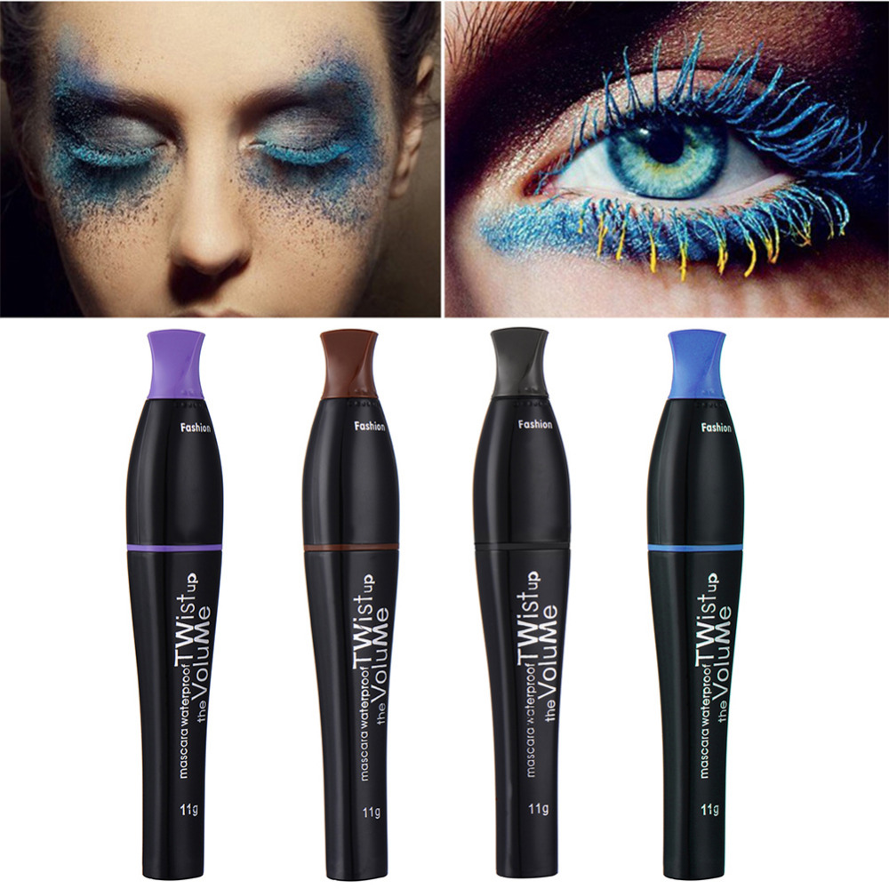 Colored Mascara Waterproof Lengthening Thick Curly Mascara Makeup Cosplay Stage Theater Colorful No Blooming Pro Makeup For Eye