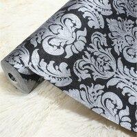 Vintage Luxury Black Damask Papier Peint Textured Embossed Wallpaper Embossed Shining Sand PVC Tapete For Background