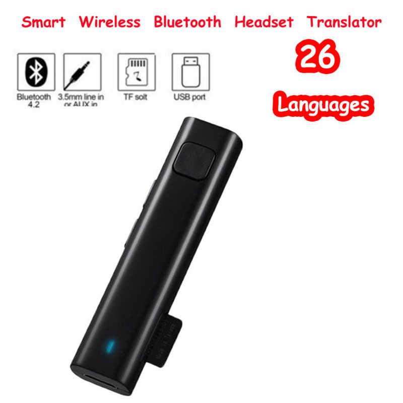 Smart Voice перевод Беспроводная стереогарнитура Bluetooth мини переводчик 26 языков в режиме реального времени поддержка TF карты Usb