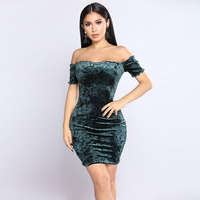 2c798fd02f9 2018 Winter Europe And America Women's Sexy Word Shoulder Tube Top Dress  Nightclub D