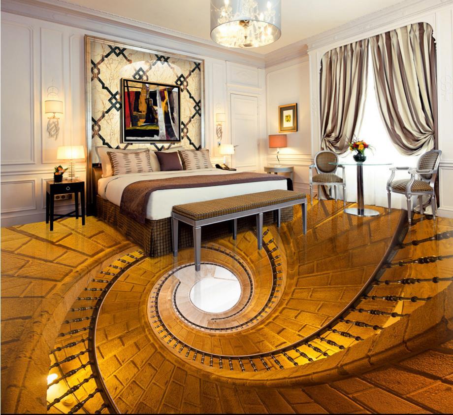 ФОТО 3d floor spiral staircase abstract wallpaper custom kitchen flooring waterproof self-adhesive living room flooring