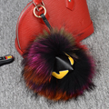 100% fur monster package pendant keychains colorful raccoon animal round ball key chain woman luxury Handbag accessories unisex