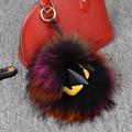 100% fur monster paquete colgante llaveros colorido animal mapache bola redonda llavero mujer Bolso de lujo accesorios unisex