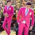 Homens blazer vermelho formal vestido mais recentes modelos casaco calça terno homens homme traje blazer masculino ternos de casamento para os homens's