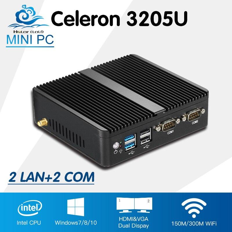 Mini PC Celeron 3205U 2*LAN Win 10 Linux Mini Desktop Computador Low Power HD Graphics TV Box HDMI With Wifi Customizable PC borner power win 304