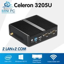 Мини-ПК Celeron 3205U 2 * lan Win 10 Linux мини настольных Computador низкая Мощность HD Графика ТВ Box HDMI с Wi-Fi настраиваемые PC