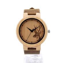 Top marca correa de cuero relojes 100% hombres hechos a mano de bambú bobo bird reloj de pulsera relogio masculino como regalos c-d14