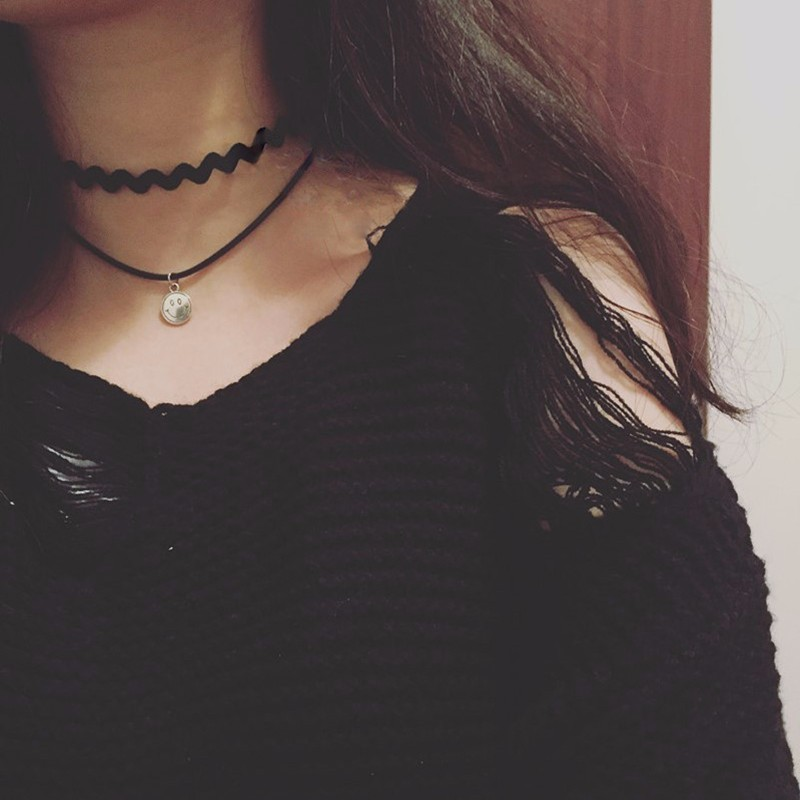 Leather Necklace Collar Chocker Jewelry Maple Bola Alloy Pendant 1Piece