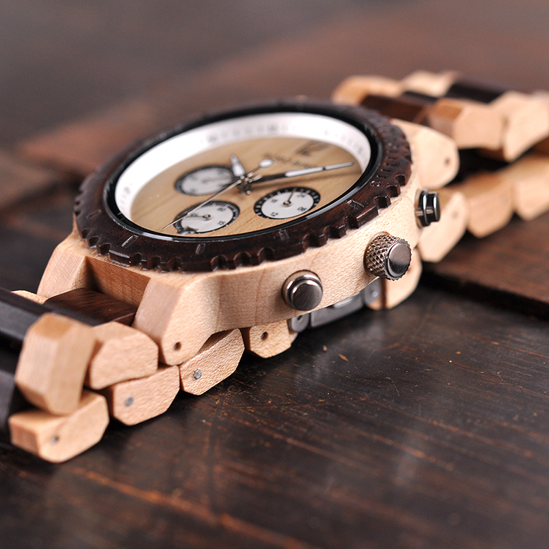 Image 3 - BOBO BIRD Wooden Watch Men Relogio Masculino Luxury Stylish Timepieces Chronograph Military Quartz Watches Great Gift for Men-in Quartz Watches from Watches