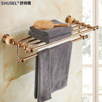 Stainless Steel Polished Towel Rack Shelf Jade Rose Gold Towel Bar, Toilet Brush Holder Wall Mounted Bathroom Pendant Set