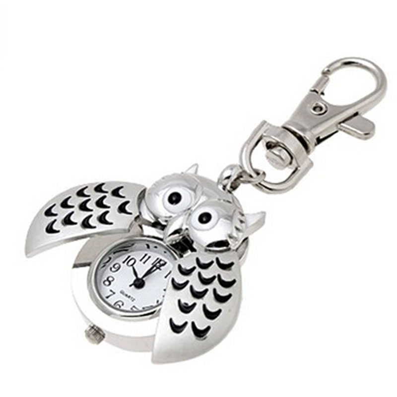 Splendid Luxury Mini Metal Key Ring owl double open Quartz Watch Clock- Silver