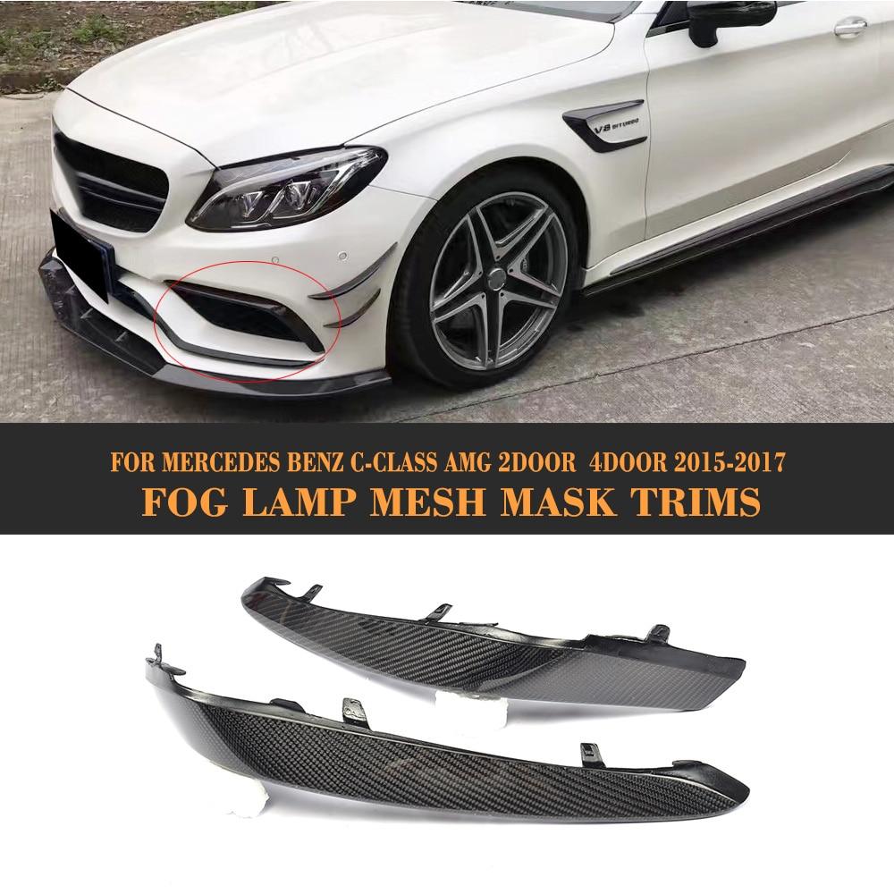 C Class Carbon Fiber Front Bumper Fog Lamp Cover Fin Trims for Mercedes Benz W205 C63 AMG 2015 2016 2017 2PCS Car Tuning Parts Mercedes-Benz A-класс