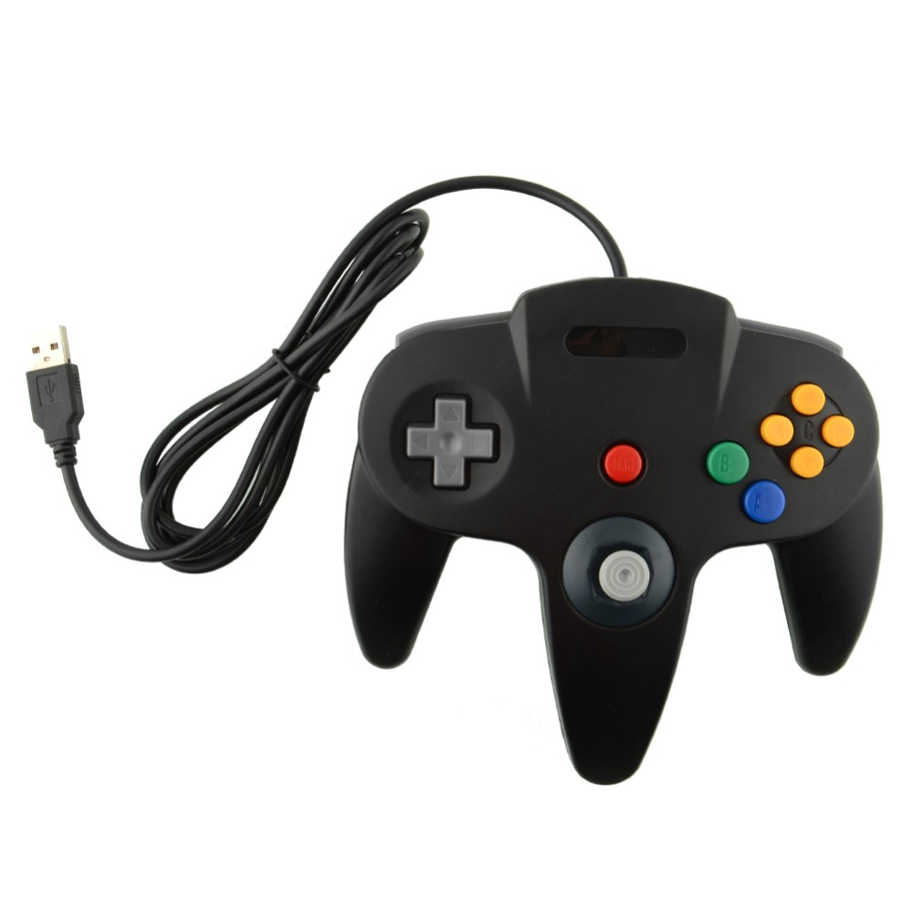 FZQWEG USB Game Wired Controller Joypad Joystick Gamepad Gaming For Nintendo for Gamecube for N64 64 Style for Mac Black
