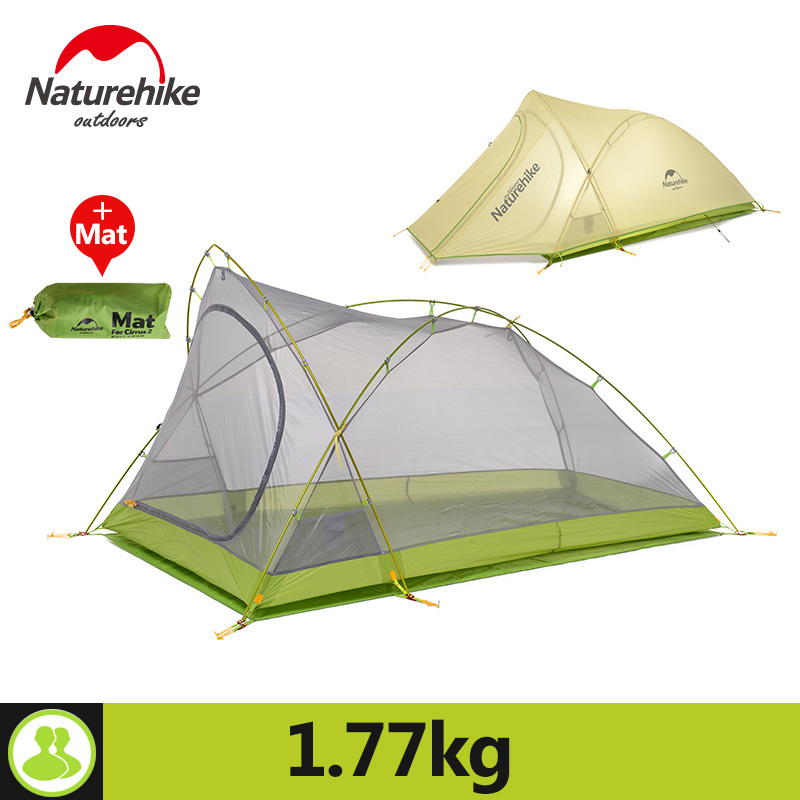 Naturehike Tent Camping 2 Person Rainproof 20D Silicone Double Layer Hiking Beach Picnic Holiday Outdoor 2 Colors Camp Tent
