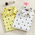 Summer Autumn Fashion Women Tops Clothing Cartoon Pattern Cute Bears Print Slim Long Sleeve  Shirts and Blouses