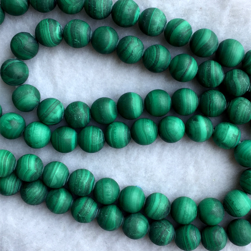 Natural Genuine Green AAA Malachite Round Loose Stone Matte Beads 10mm 15