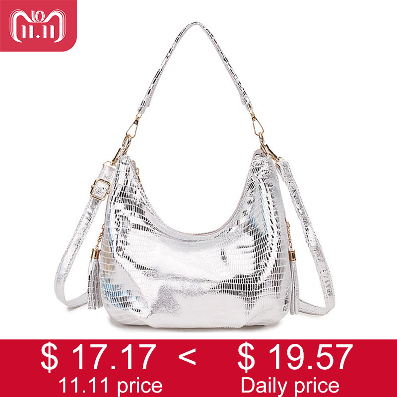 SMILEY SUNSHINE Hobo Messenger Bag Women's Shoulder Bags Womens Handbag 2018 Silver Small Crossbody Ladies Hand Bag Female Tote wholesale 10 hot womens vintage hobo messenger handbag shoulder bag tote with bow page 9