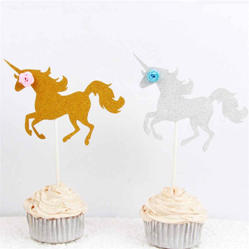 يونيكورن الحصان كأس كعكة أدوات القبعات العالية كب كيك اختيار ديكور الاطفال حفلة عيد ميلاد الحسنات جديد