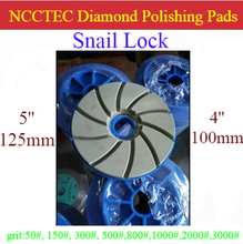 "4"" 5"" Snail Lock handle head thread Diamond Polishing Buffing Pads for C Frame Machines 