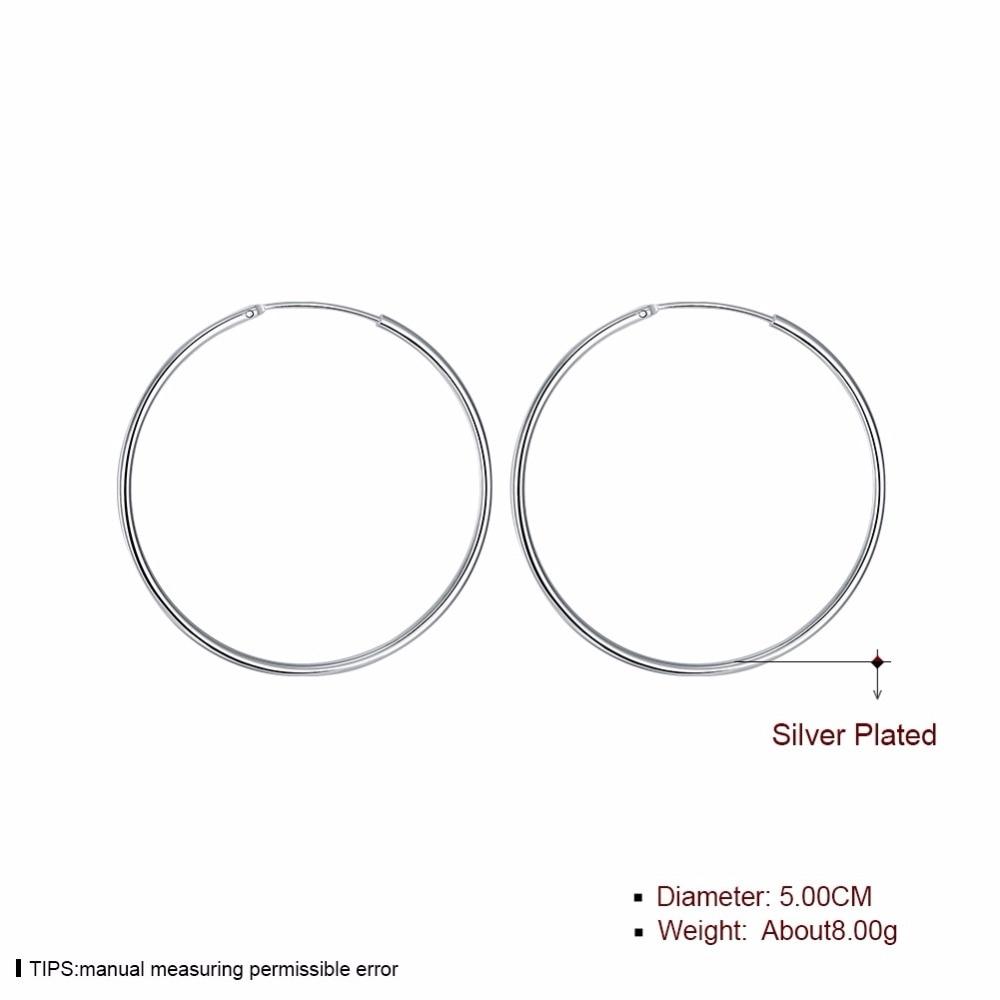 Diameter 5cm Smidig Rund Creole Stor Hoop Örhängen 925 Stämplad - Märkessmycken - Foto 4