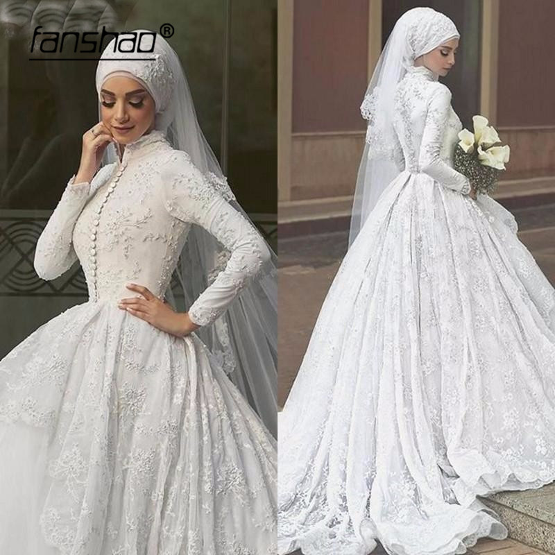 Lace Muslim Wedding Dress Appliques Scarf Hijab Wedding Dress Tulle Abiye Abiti Da Sposa Wedding Gown Bride Dress