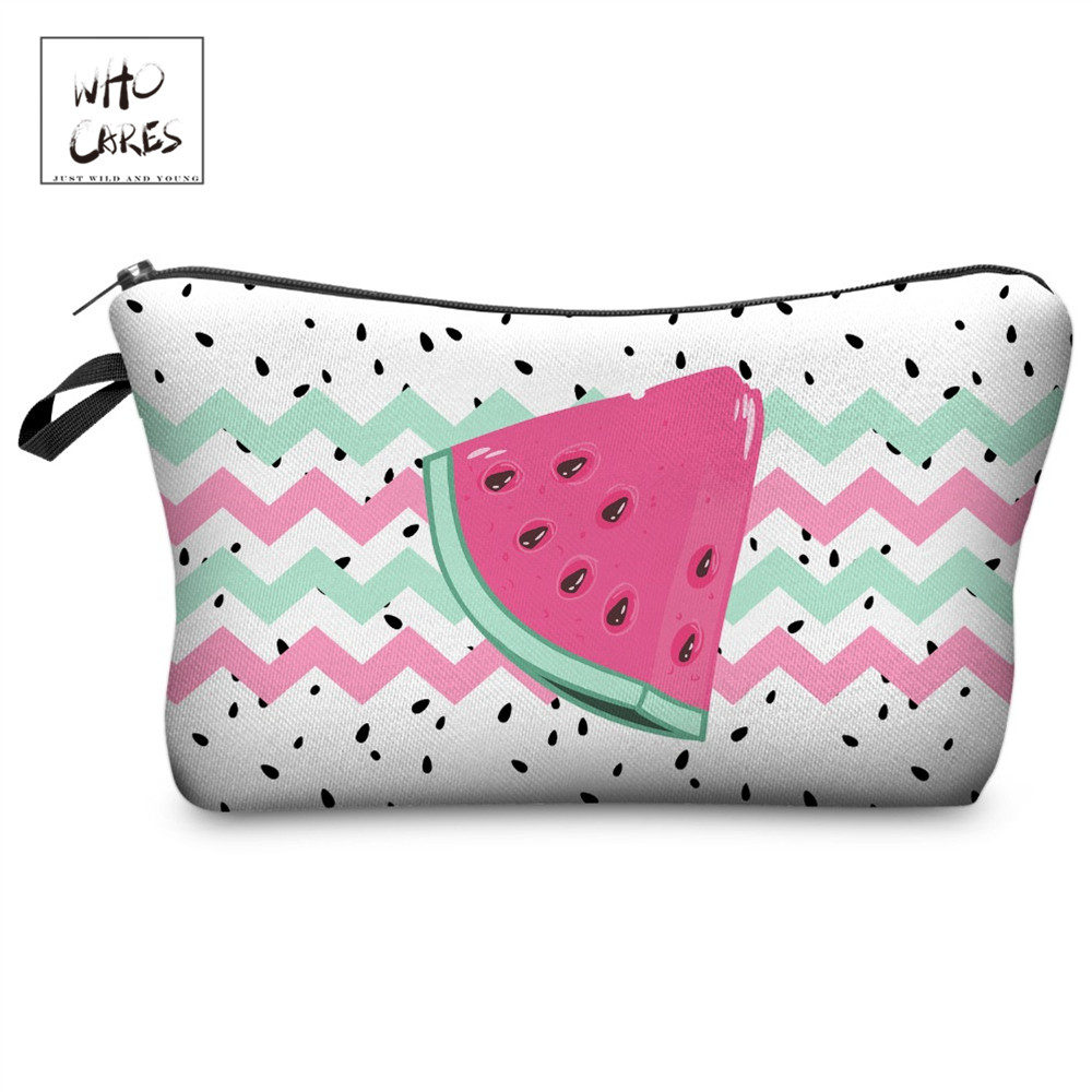 Who Cares Watermelon Fruits Printing With Multicolor Pattern Makeup Bags With Zipper Travel Ladies Pouch Women Cosmetic Bag