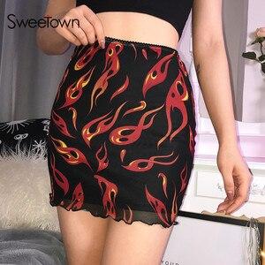 Image 1 - Sweetown falda de malla de retales para mujer, falda Sexy Harajuku Kawaii, ropa de calle llamativa, dibujo de fuego, falda de cintura alta de doble capa