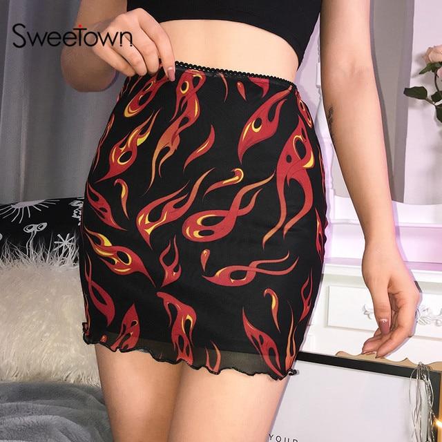 Sweetown falda de malla de retales para mujer, falda Sexy Harajuku Kawaii, ropa de calle llamativa, dibujo de fuego, falda de cintura alta de doble capa