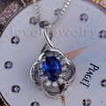 SAMEDAY SALE! Woman Sapphire Pendant In 18K White Gold Natural Diamond Engagement Pendant Oval 4x6mm WP041