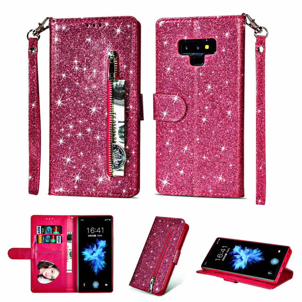 Telefonu Etui Coque Samsung Galaxy S6 S7 S8 S9 artı kenar not 8 9 IMD Glitter PU deri fermuarlı çanta Flip cüzdan