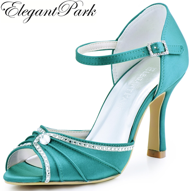 Woman Shoes Teal High Heel Buckle Pumps Rhinestones Satin Bride Wedding Shoes Bridesmaid Evening Prom Party Sandals EL-033
