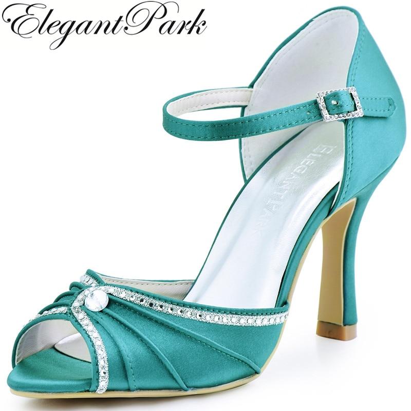 Woman Shoes Teal High Heel Buckle Pumps Rhinestones Satin Bride Wedding Shoes Bridesmaid Evening Prom Party Sandals EL-033