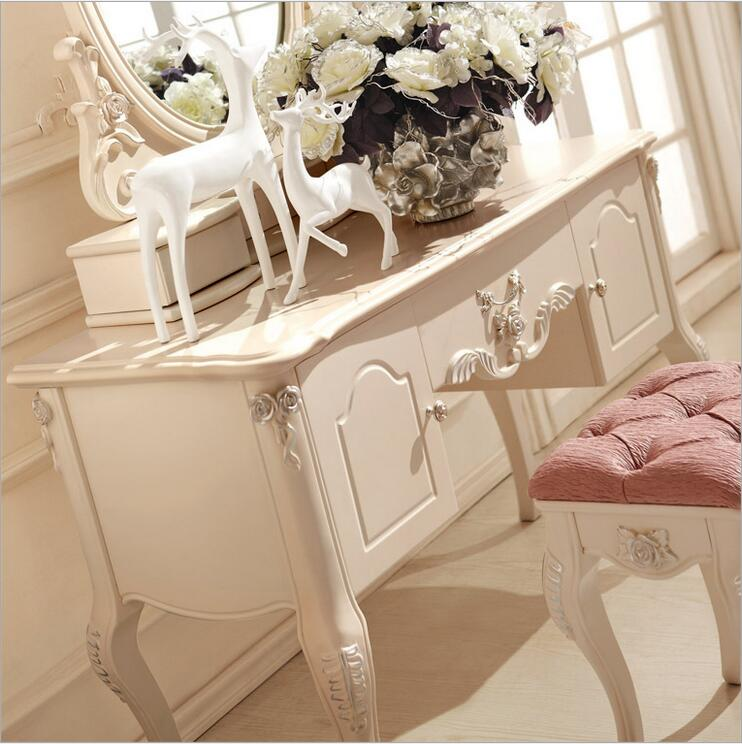 European mirror table modern bedroom dresser French furniture white french dressing table p10235 wooden dressing table makeup desk with stool oval rotation mirror 5 drawers white bedroom furniture dropshipping