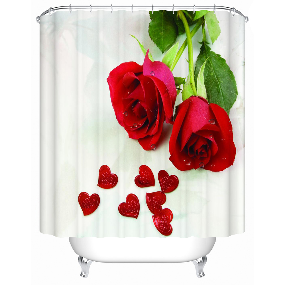 Rose Bathroom Shower Curtain Mildew Thick Waterproof Polyester