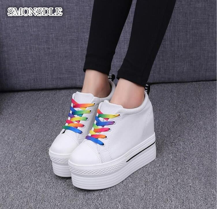 2019 new 10CM thick bottom platform shoes increased casual small white shoes with Korean canvas shoes free delivery2019 new 10CM thick bottom platform shoes increased casual small white shoes with Korean canvas shoes free delivery