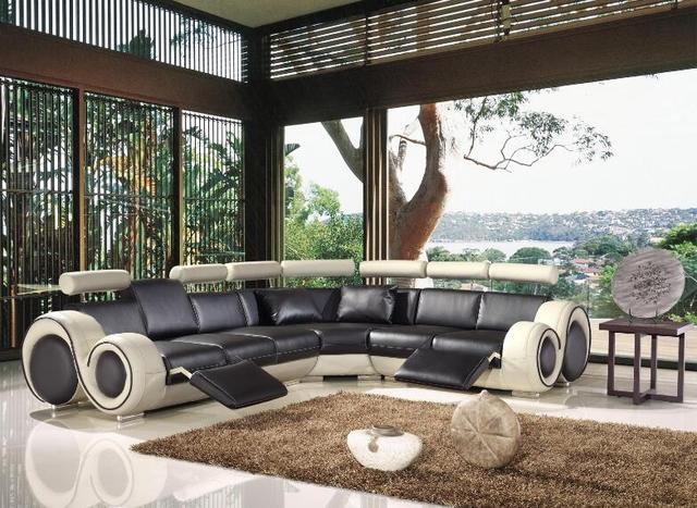 Soggiorno divano ad angolo in pelle con cuoio genuino reclinabile ...