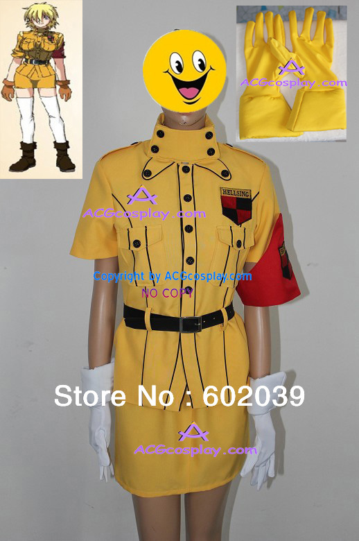 Hellsing Seras Victoria Yellow uniform cosplay costume include belts and yellow gloves
