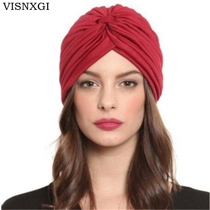 VISNXGI 2019 New Fashion   Skullies   Women 21 Soild Color   Beanies   Black White Red Beige Green Indian Turban Caps For Ladies Hats