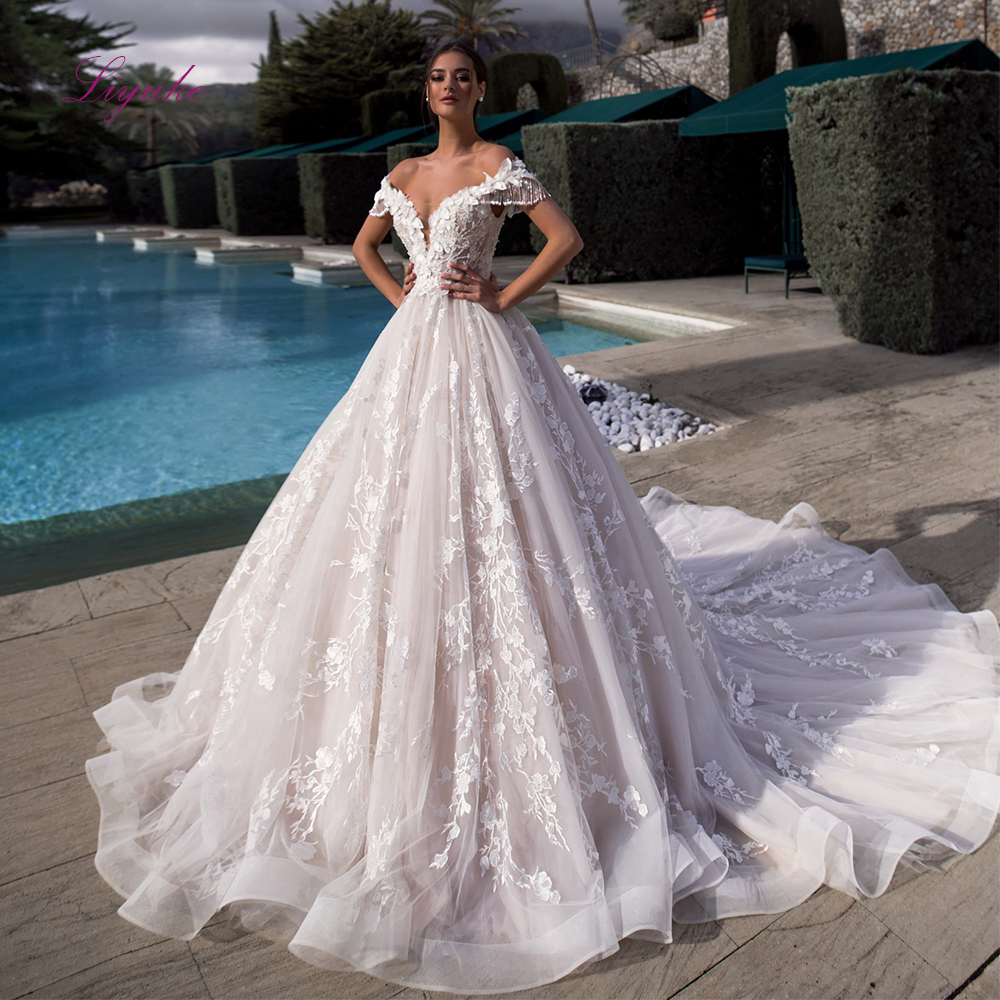 Liyuke 2019 Married Wedding Dress Ball Gown Off the shoulder Tassel Lace Up Appliques Back Button Customized
