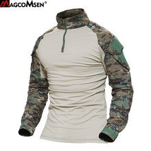 MAGCOMSEN Man Multicam T-shirts Army Camouflage Combat Tactical T Shirt Military Men Long Sleeve T-Shirt Hunt T-shirts AG-FED-22(China)