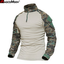 MAGCOMSEN Man Multicam T shirts Army Camouflage Combat Tactical T Shirts Military Long Sleeve Airsoft Paintball Hunting Tshirts
