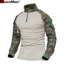 MAGCOMSEN 남자 Multicam T 셔츠 육군 위장 전투 전술 T 셔츠 군사 긴 소매 Airsoft 페인트 볼 사냥 Tshirts