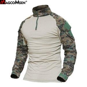 Image 1 - MAGCOMSEN camisetas tácticas de combate de camuflaje del ejército para hombre, camisetas militares de manga larga, Airsoft, Paintball, caza