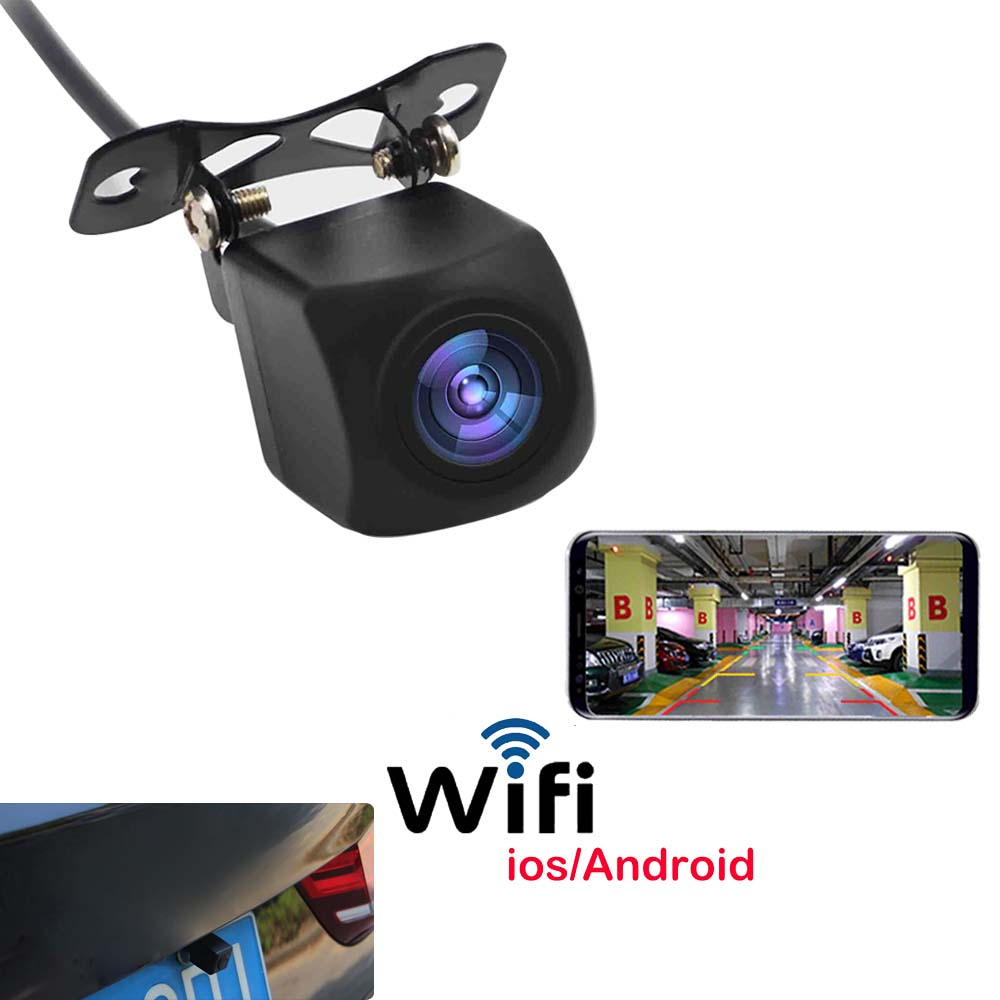 Car Wifi Rear View Camera Monitor Night Vision Reverse Parking Camera Waterproof Back Up For Phone IOS/Android Devices Wireless
