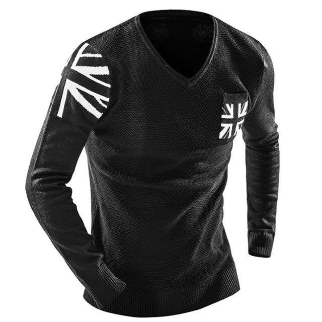 Sweater Men 2017 Brand  Fashion Meter Word Flag Sweater Male V-Neck  Stitching Slim Menspullover Sweaters Man