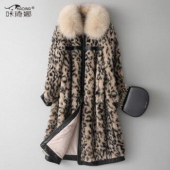 Chaqueta de piel auténtica para mujer, chaqueta de otoño invierno 2020, chaqueta de piel de zorro para mujer, abrigo 100% de piel de lana, abrigos de leopardo de estilo coreano 18134MY