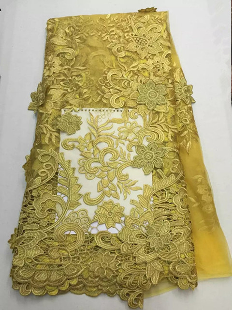 Charming Applique Design French Tulle Lace Fabric African Flower