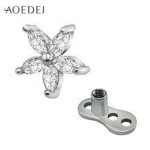 20382d4cce0e Aoedej flor cristal Diamantes con piedras falsas dérmica ancla de acero  inoxidable Titanium micro Dermal piercing Tops buceador .